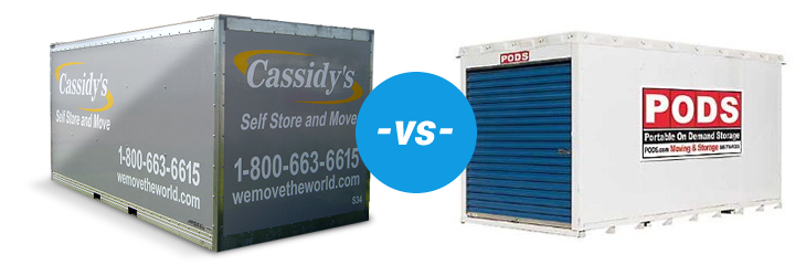 Compare Cassidys Self Storage Containers to Pods Cassidys Self